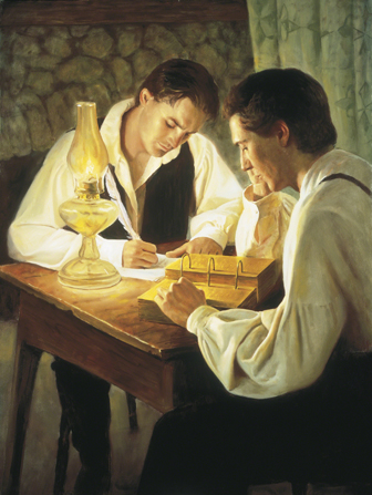 A painting by Del Parson depicting Joseph Smith sitting at a desk translating the gold plates while Oliver Cowdery writes the translation with a quill pen.