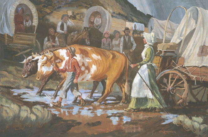 A painting by Glen S. Hopkinson depicting Joseph F. Smith as a young man walking next to the oxen pulling their wagon, with his mother, Mary Fielding Smith, following close behind.