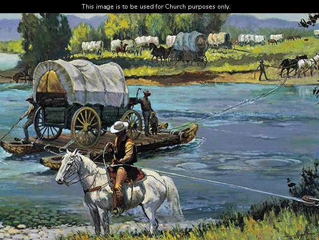 A painting by Harold Hopkinson of people standing by a covered wagon on a raft being pulled across the Platte River where other wagons are waiting.