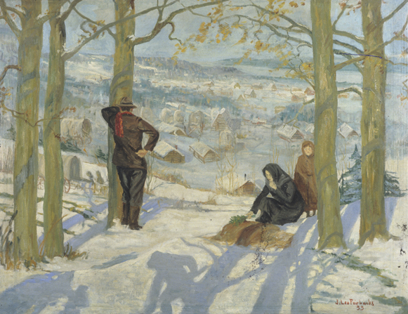 A painting by Jonathan Leo Fairbanks illustrating a man standing by a tree and looking down at Winter Quarters while a woman places green leaves on a grave, with a child standing close by.