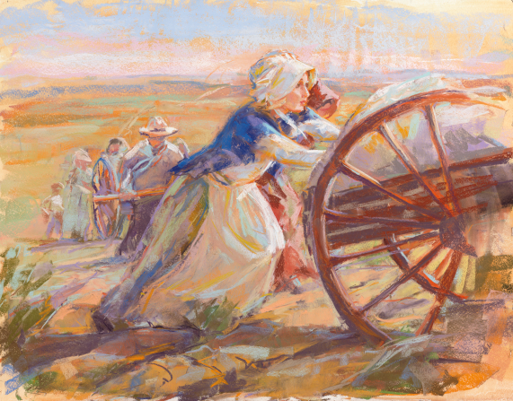 A painting by Julie Rogers of two women in bonnets and dresses pushing the back of a handcart wagon up a hill with others pulling handcarts behind them.