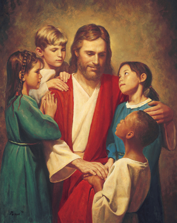 A painting by Del Parson showing Christ sitting in white and red robes, surrounded by four children from different backgrounds and nationalities.
