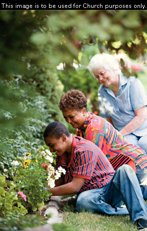 A photograph by Robert Casey showing a mother and son doing work on a flower bed for an elderly woman with white hair, who is behind them.