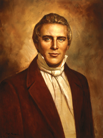 A portrait by Del Parson of President Joseph Smith Jr. in a white shirt and brown suit against a brown background.