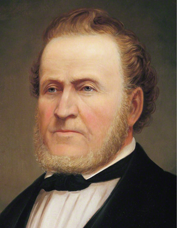A painted portrait of President Brigham Young wearing a black suit, by George Martin Ottinger.