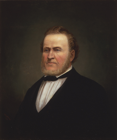 A painted portrait by George Martin Ottinger of Brigham Young with a short beard, wearing a dark suit.