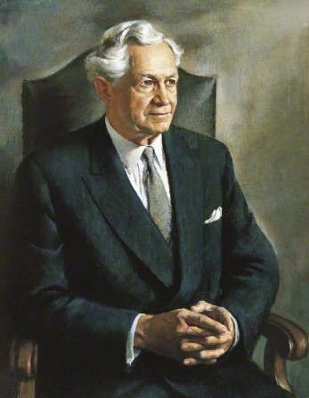 A painted portrait by Alvin Gittins of President David O. McKay in a black suit, sitting in a chair with his fingers clasped together.