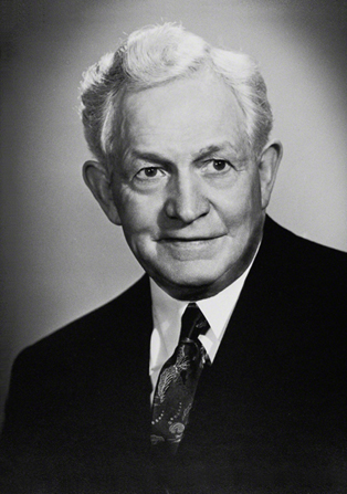 A portrait photograph by the Boyart Studio of David O. McKay in a dark suit.
