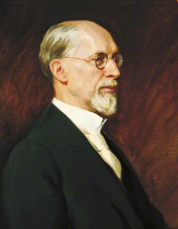 A painted portrait by Lee Greene Richards of President George Albert Smith with a short beard, wearing a black suit and tan tie.