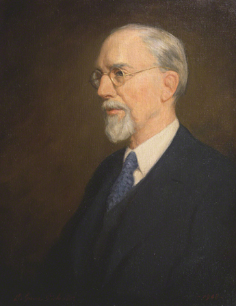 A painted portrait by Lee Greene Richards of George Albert Smith in a dark suit and a blue tie.