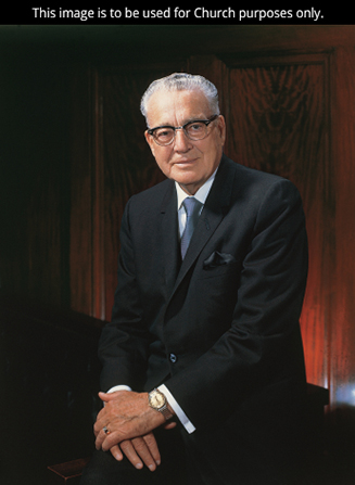 A portrait by Merrett T. Smith of President Harold B. Lee wearing a white shirt, black suit, and glasses.