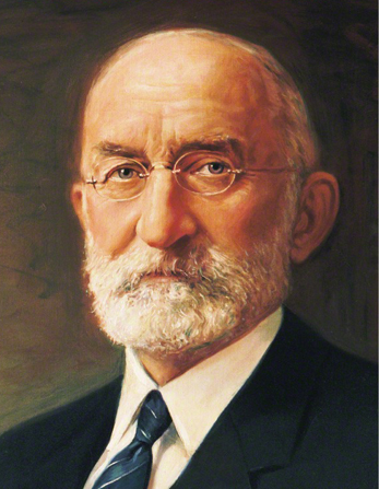 A painted portrait by C. J. Fox of President Heber J. Grant with a short white beard, wearing a dark suit and striped tie.