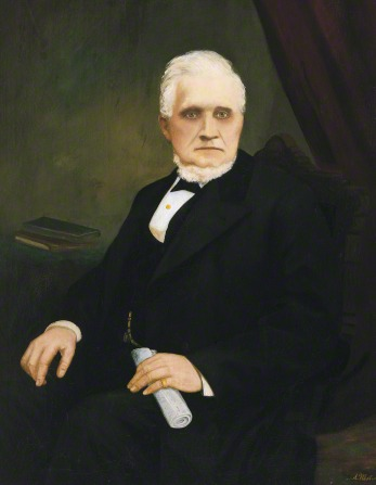 A portrait painting by A. Westwood of President John Taylor wearing a black suit and sitting in a chair.