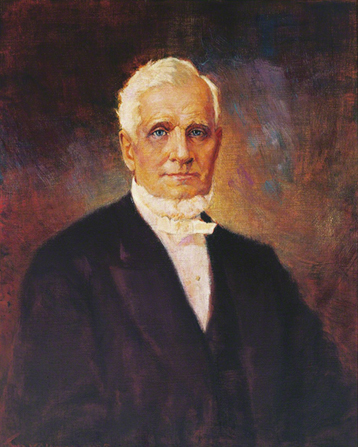 A painted portrait by John Willard Clawson of John Taylor in a dark suit.