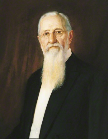 A portrait by A. Salzbrenner of Joseph F. Smith in a black suit, white shirt, and glasses.