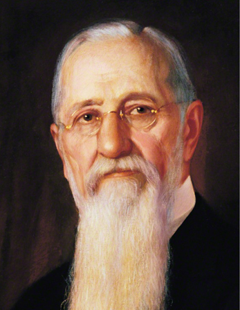 A painted portrait by A. Salzbrenner of Joseph F. Smith with a long white beard and small round glasses.