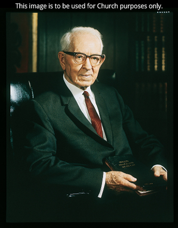 A portrait by Merrett T. Smith of President Joseph Fielding Smith sitting in a black chair.