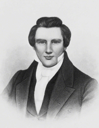 A black-and-white etching of Joseph Smith by H. B. Hall & Sons of New York.