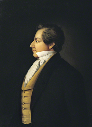 A painted portrait of Joseph Smith's profile, by Danquart Anthon Weggeland.