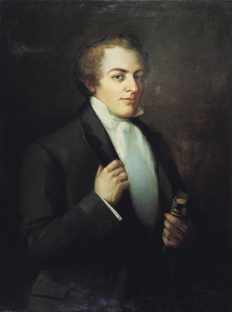 A painted portrait by Lewis A. Ramsey of Joseph Smith in a dark suit, holding a copy of the Book of Mormon.