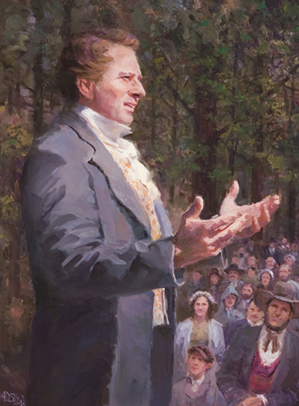 A painting by Archie D. Shaw showing Joseph Smith in an outdoor setting, talking to a group of people.