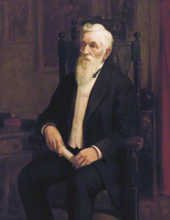 A portrait by Lewis A. Ramsey of President Lorenzo Snow in a black suit, sitting in a wooden chair and holding a rolled-up piece of paper.