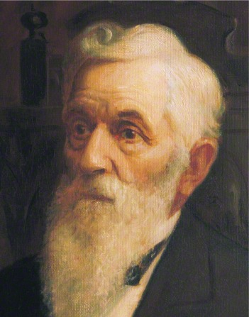 A painted portrait by Lewis A. Ramsey of Lorenzo Snow with a long white beard.