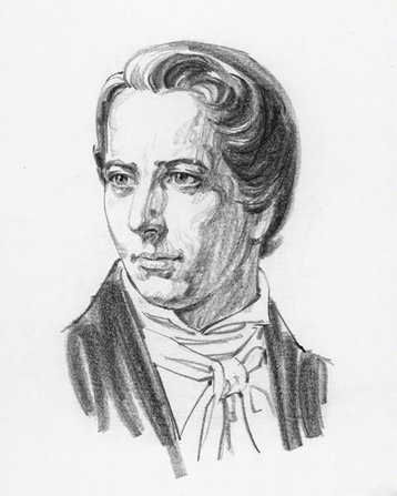 A black-and-white sketch of Joseph Smith Jr., by Jerry Harston.