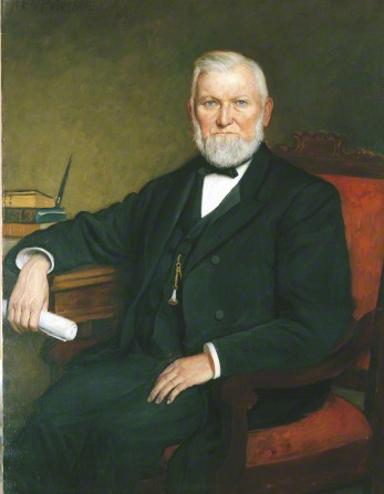 A painting by H. E. Peterson of President Wilford Woodruff in a black suit sitting in a red armchair and resting one arm on a table.