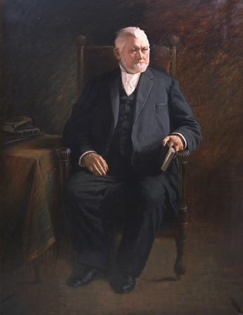 A painted portrait by George Henry Taggart of Wilford Woodruff sitting in a chair and holding a book.