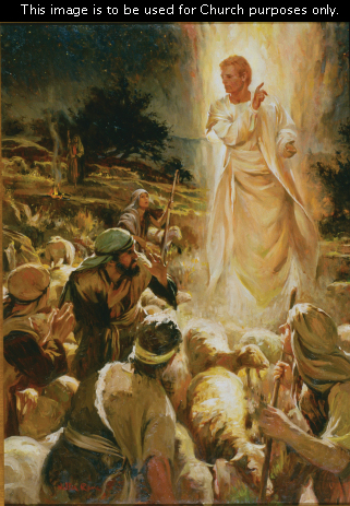 A painting of the angel appearing to the shepherds to announce the birth of Christ.