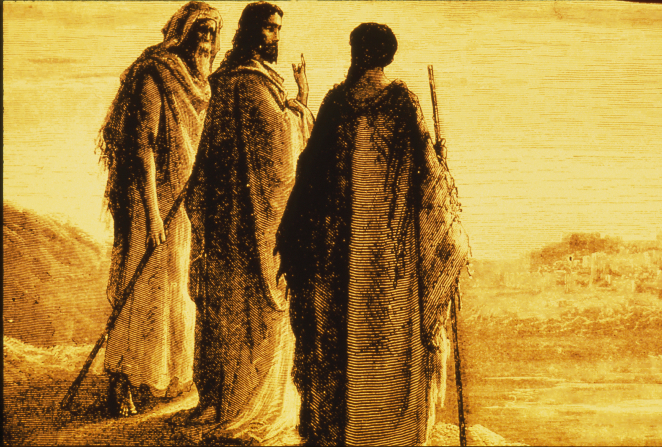 A depiction by Paul Gustave Doré of Christ standing between two of His disciples on the road to Emmaus.