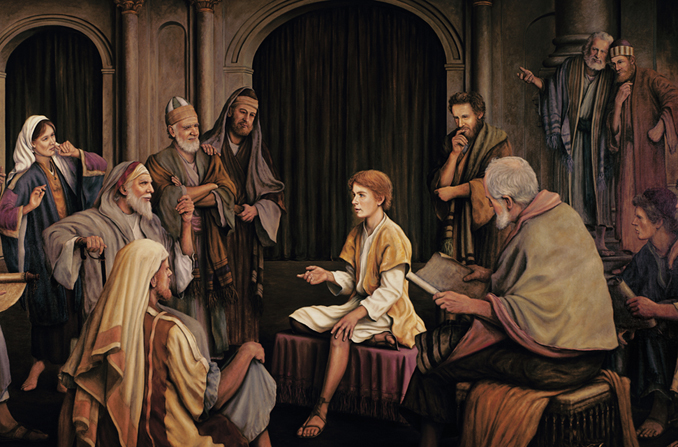 A young Jesus sitting in the temple, talking to the elders, who are gathered around listening and talking among themselves.