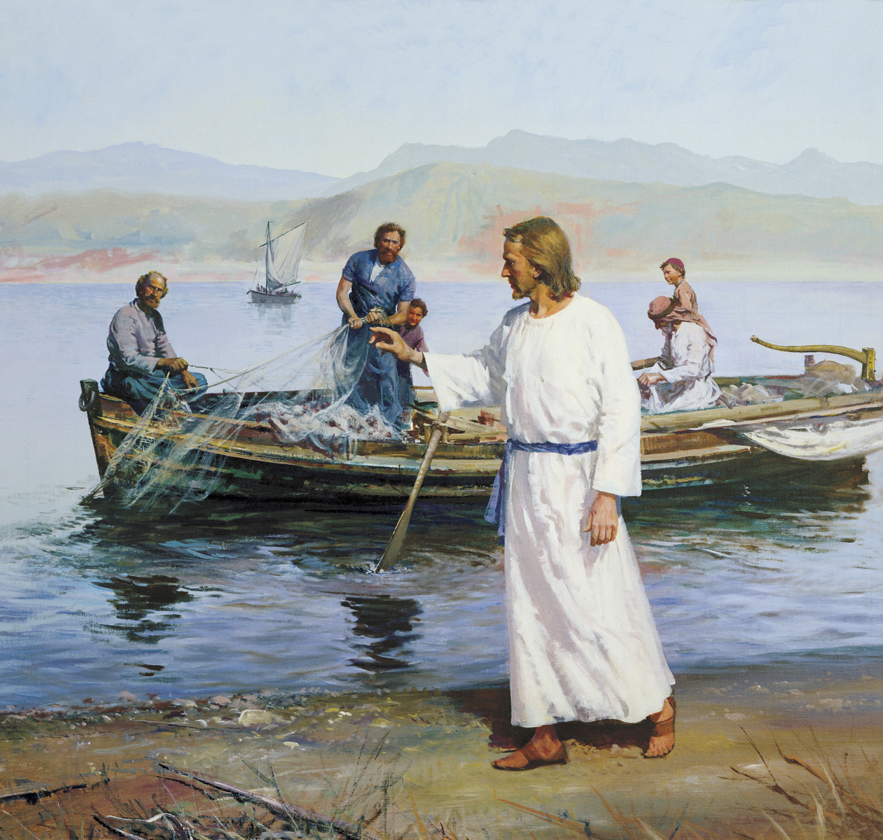 Image result for jesus near the sea, art
