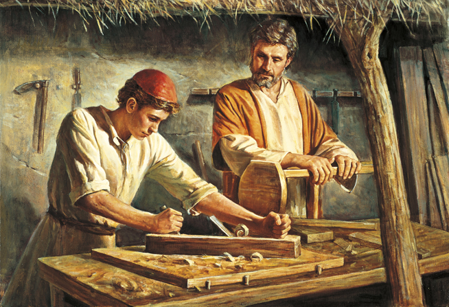 Young Jesus standing next to Joseph in the carpenter's shop, working with tools on the wood while Joseph supervises.