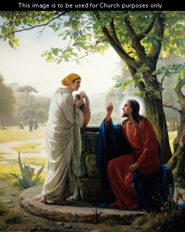 Christ in red and blue robes, sitting at the edge of a stone well, talking to a woman who is holding a large clay pot and listening intently.
