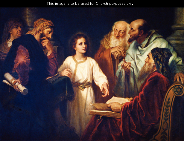 Young Jesus, wearing a white robe, points to the scriptures while teaching five elders who have gathered around to listen in the temple.