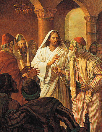 A painting by Robert T. Barrett depicting Christ in a white robe, surrounded by curious onlookers, healing a man's hand.