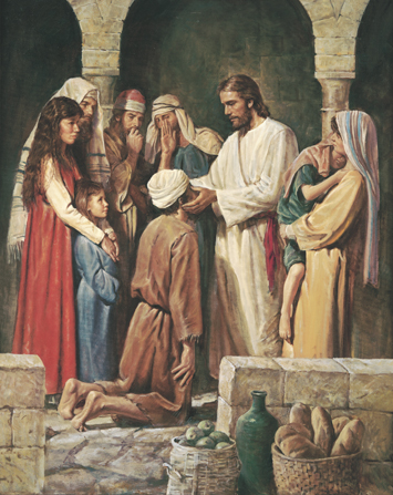 Christ rubbing clay into the eyes of a blind man who is kneeling before Him while a group of people look on to see what will happen.