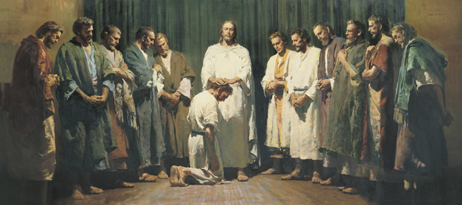 A panoramic scale painting of Christ in white robes, laying His hands on the head of one of His Apostles while the other eleven stand on either side.