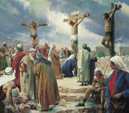 Jesus Christ hanging on the cross between two thieves while groups of onlookers, including Roman soldiers, stand nearby.