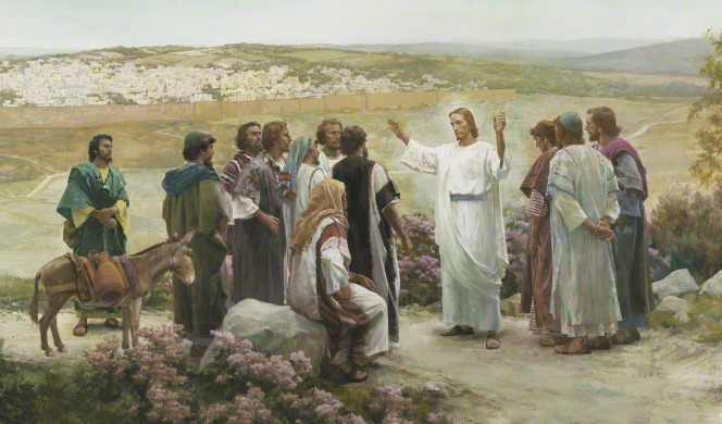 A painting by Harry Anderson showing Christ in white robes, standing in the midst of His Apostles on a road outside of Jerusalem.
