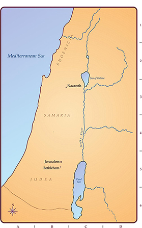 A tan and blue drawn map of the Holy Land, showing the Dead Sea, the Sea of Galilee, and the Mediterranean Sea.