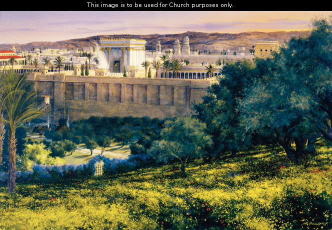 A painting by Al Rounds showing the ancient temple in Jerusalem with lush green vegetation and blue flowers in the foreground.