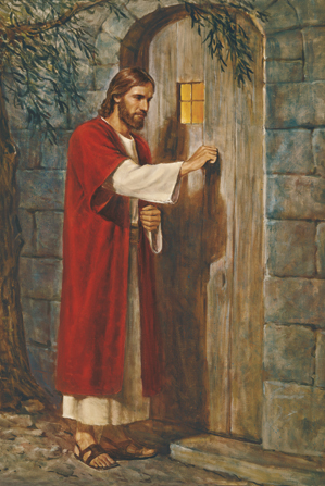 Christ in red and white robes, knocking on a plain wooden door with a small window showing warm light inside.