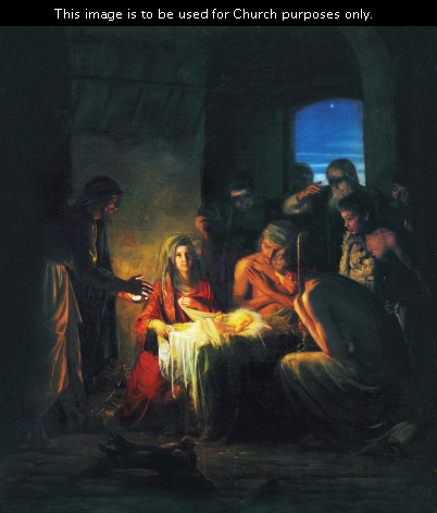 A Nativity scene showing Mary sitting near the manger while many shepherds crowd around to see the baby Jesus.