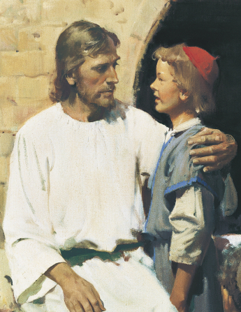 A detail of a painting by Harry Anderson showing Christ with His arm around a young boy with whom He is talking.