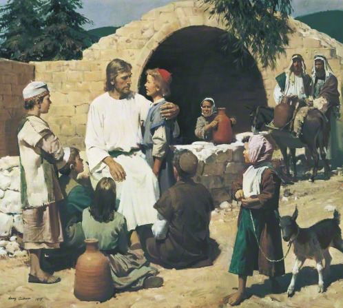 Christ sitting on a stone wall with His arm around a boy while five other children gather around.