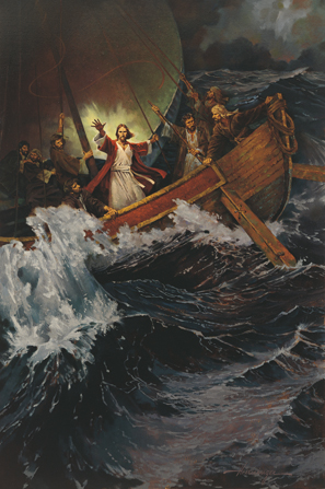 Jesus wearing white and red robes, with arms outstretched, standing near His Apostles on a ship that is being tossed on large waves.