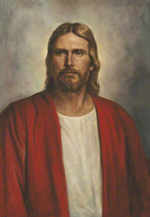 A portrait of Christ in a red robe against a gray background, looking out toward the viewer.